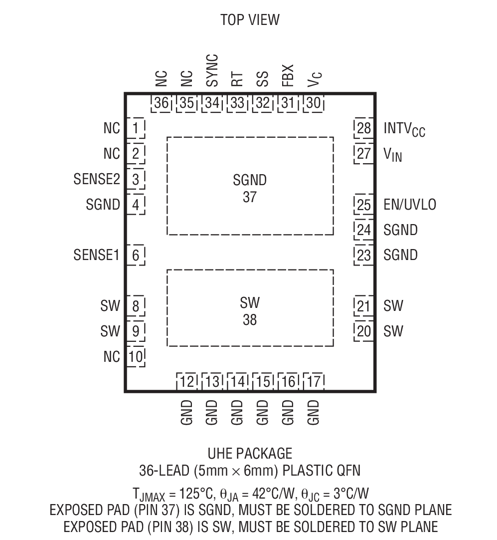 LT3957A 是一款宽输入电压范围、电流模式、DC/DC 转换器,该器件能够产生正或负输出电压。它可以被配置为一个升压、反激式、SEPIC 或负输出转换器。它具有一个内部低端 N 沟道功率 MOSFET,此 MOSFET 的额定规格针对 40V/5A 而拟订,并从一个内部已调 5.2V 电源来驱动。其固定频率、电流模式架构在一个很宽的电源电压和输出电压范围内实现了稳定的操作。 LT3957A 的工作频率可利用一个外部电阻器来设定 (可设置范围为 100kHz 至 1MHz),并能够采用 SYNC 引脚来