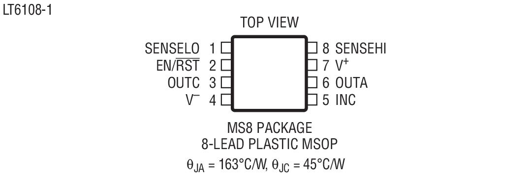 lt6108是具基准和比较器的高端电流检测放大器